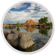 Reflections On A Summer Morning Round Beach Towel