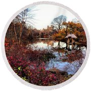 Round Beach Towel featuring the photograph Reflections On A Winter Day - Central Park by Madeline Ellis