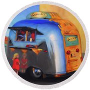 Reflections On An Airstream Round Beach Towel