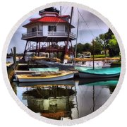 Reflections On Golden Creek Round Beach Towel