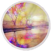 Reflections On Ice Round Beach Towel