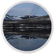 Reflections On Lake Mcdonald 3 Round Beach Towel