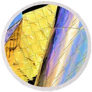 Reflections On Peter B. Lewis Building, Cleveland2 Round Beach Towel