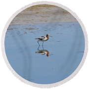 Reflections On The Great Salt Lake Round Beach Towel