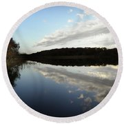 Round Beach Towel featuring the photograph Reflections On The Lake by Chris Berry