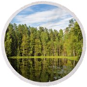 Reflections On The Pond Of Itko Round Beach Towel