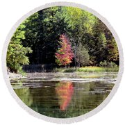 Reflections On The Rift Round Beach Towel
