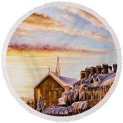 Reflections On The Snow Round Beach Towel