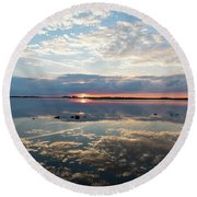 Reflections Over Back Bay Round Beach Towel
