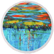 Reflections Sky And Landscape Abstract Round Beach Towel