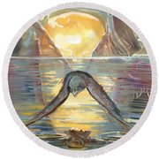 Reflections Swallowed Round Beach Towel