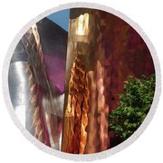 Reflective Buildings Round Beach Towel