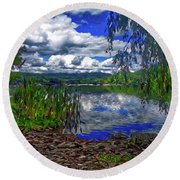 Round Beach Towel featuring the painting Reflective Lake by Joan Reese