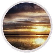 Reflective Sunset Round Beach Towel by Doug Long