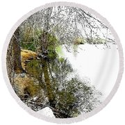 Reflective Trees Round Beach Towel