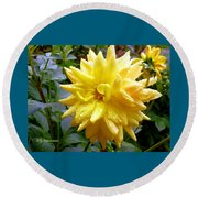 Refreshed Dahlia  Round Beach Towel