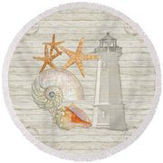 Refreshing Shores - Lighthouse Starfish Nautilus N Conch Over Driftwood Background Round Beach Towel