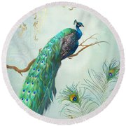 Regal Peacock 1 On Tree Branch W Feathers Gold Leaf Round Beach Towel