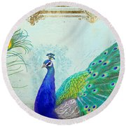 Regal Peacock 2 W Feather N Gold Leaf French Style Round Beach Towel