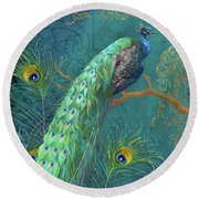Round Beach Towel featuring the painting Regal Peacock 3 Midnight by Audrey Jeanne Roberts