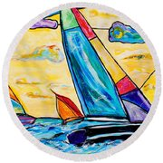 Regatta Round Beach Towel by Everett Spruill