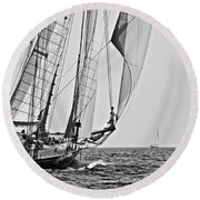 Regatta Heroes In A Calm Mediterranean Sea In Black And White Round Beach Towel