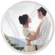 Regency Couple Embracing On The Terrace Round Beach Towel by Lee Avison