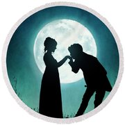 Regency Couple Silhouetted By The Full Moon Round Beach Towel