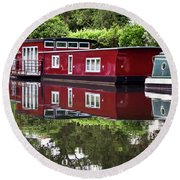 Round Beach Towel featuring the photograph Regent Houseboats by Keith Armstrong