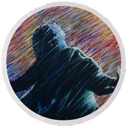 Round Beach Towel featuring the painting Reign O'er Me by Amelie Simmons