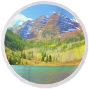 Round Beach Towel featuring the photograph The Maroon Bells Reimagined 1 by Eric Glaser