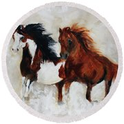 Rein And Dancer Round Beach Towel by Barbie Batson