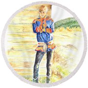 Reindeer Boy -- Portrait Of Young Laplander Man Round Beach Towel