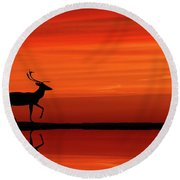 Reindeer By Moonlight Round Beach Towel