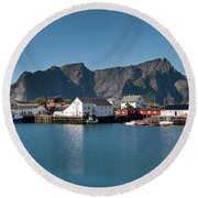 Reinebringen And Hamnoy Round Beach Towel
