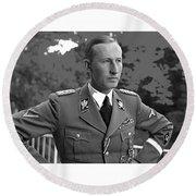 Reinhard Heydrich Circa 1940 Color Added 2016 Round Beach Towel