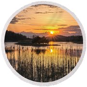 Rejoicing Easter Morning Skies Round Beach Towel