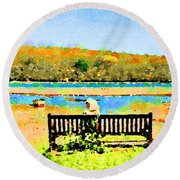 Relax Down By The River Round Beach Towel