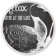 Relax Lake House Duck Sign Round Beach Towel