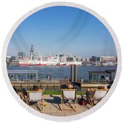 Relax On The Elbe Round Beach Towel