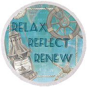 Relax Reflect Renew Round Beach Towel