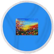 Round Beach Towel featuring the painting Relax by Teresa Wegrzyn
