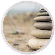 Relaxation Stones Round Beach Towel by John Williams