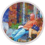 Relaxin Cowboy Round Beach Towel by Ricky Dean