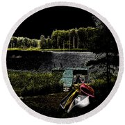 Round Beach Towel featuring the photograph Relaxing By Moonlight by David Patterson