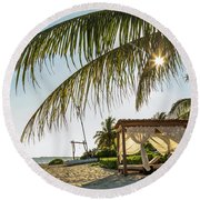 Relaxing Cabana On Beach In Mexico Round Beach Towel