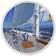 Relaxing On Deck Round Beach Towel