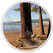 Relaxing On Lake Tahoe Round Beach Towel by Pat Cook