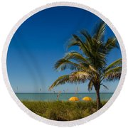 Relaxing Under The Palm Round Beach Towel