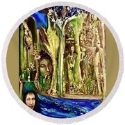 Encounter At The River Round Beach Towel